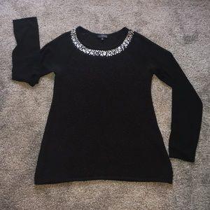 🆕💎 Black Jeweled Sweater Chiffon Sleeves sz. XS